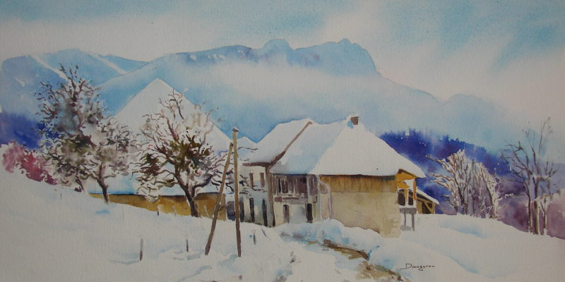 Doucy en Bauges: sur la route. aquarelle